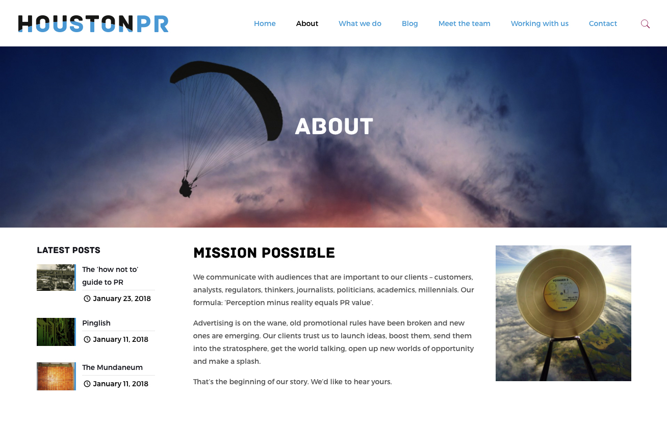 Houston PR Website Design and Build - About Page